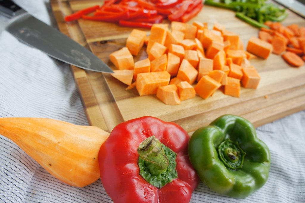 Bell peppers and sweet potato