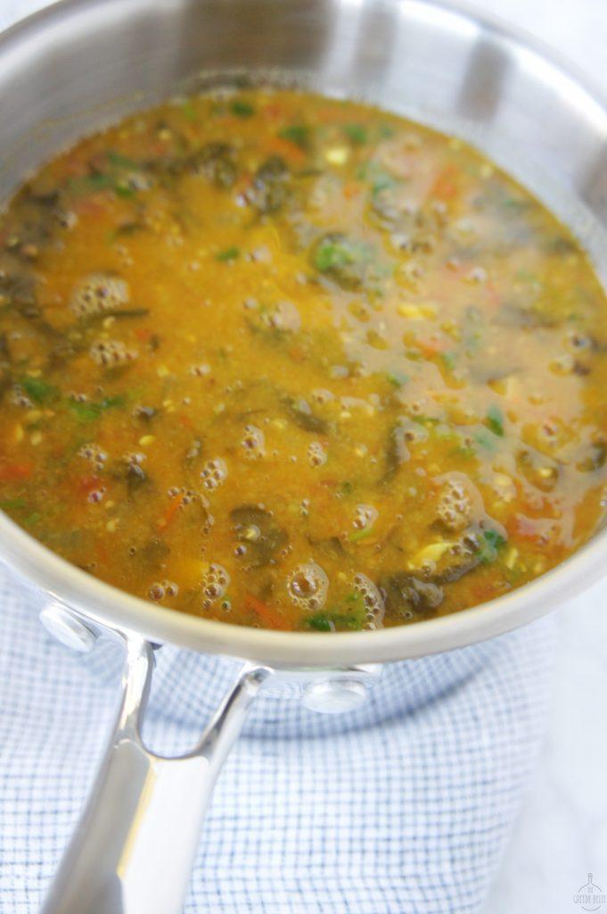 cooking red lentil dal