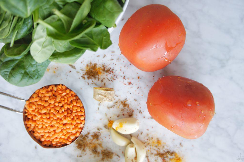 red lentil dal daal ingredients