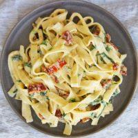 Creamy Sun Dried Tomato Spinach Pasta recipe card
